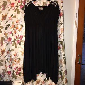 Black shark bite hem 18/20 black embellished dress